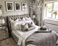 How lovely is this grey and silver bedroom with our quilted sleigh bed Silver And Grey Bedroom, Silver Bedroom Decor, Grey Bedroom Design, Room Ideas Bedroom, Home Decor Bedroom, Glam Master Bedroom, Bedroom Furniture, Champagne Bedroom, Luxurious Bedrooms