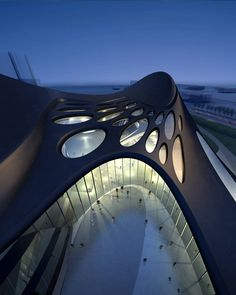 Picture of the entrance side at night as seen from the airTaichung Metropolitan Opera House by Zaha Hadid Architects, Taichung, Taiwan