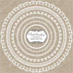 12 White Lace Circle & Square Frame - Personal Or Small Commercial Use (PS003). $3.00, via Etsy.