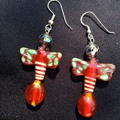 Glass Butterfly Earrings  Red with Green by happytrailsmichelle