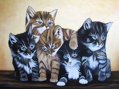 the Cats   olieverf op doek