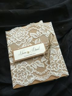 Gorgeous lace pocket invite