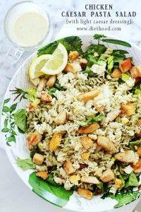 Chicken Caesar Pasta Salad with Light Caesar Dressing Recipe | Diethood