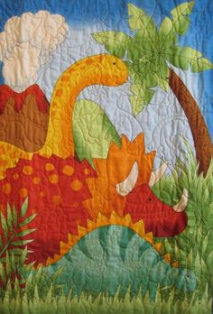 Really Cute!  Dinosaur Quilt  Baby Quilt Kid Quilt  by GREAT Quiltations