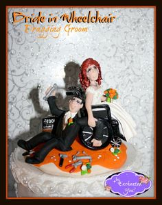 Bride in Wheelchair dragging Groom Personalized Wedding Cake Topper