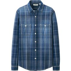 MEN PURE BLUE JAPAN INDIGO CHECK LONG SLEEVE SHIRT | UNIQLO