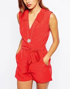 Image 3 of ASOS Wrap Front Romper with Tie Waist