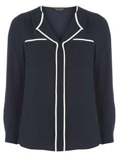 Navy Long Sleeve Top - Dorothy Perkins