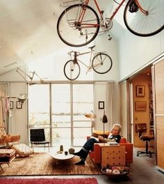 modern bicycle storage solutions Top 25 Bike Storage Solutions Into Your Home Indoor Bike Storage, Bicycle Storage, Home Organization Hacks, Storage Hacks, Storage Ideas, Storage Design, Loft Spaces, Small Spaces, Open Spaces