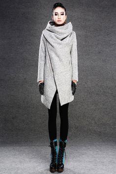 Frauen-Herbst-Winter-Grau Wollmantel CF030  von Luyahui auf DaWanda.com