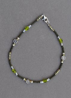 Jewelry - Anklets - Green and Brown Floral Beaded Anklet by JewelryArtByGail on Etsy