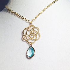 Belle Luxe Necklace- Open Rose in Gold or Silver with your choice color crystal- Wedding, Bridal, Bridesmaid, Floral Necklace