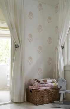 Check out the Les Indiennes Hand-Printed Wallpaper in Paint & Wallpaper, Wallpaper from Les Indiennes for . Painting Wallpaper, Print Wallpaper, Fabric Wallpaper, Bedroom Wallpaper, Wallpaper Ideas, Girl Nursery, Girls Bedroom, Zara Home, Bebe Love