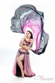 Half Circle silk belly dance veil by Fairy Cove Silks.  You can really see the shape of the half circle in this photo.