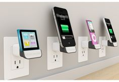 bluelounge minidock--charges right out of the outlet--no phone w/ a cord laying around