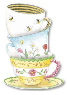 Carol Wilson Stacked Tea Cups Birthday Greeting Card