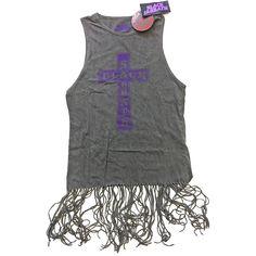 Black Sabbath Vest Vintage Cross Logo Official Womens Dress Top with Tassels