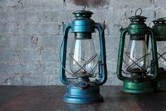 Vintage Lantern Oil Lamp Light Industrial Indian Made Kerosene Lantern Rusty Blue