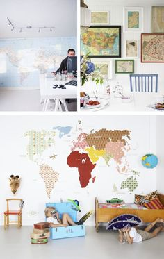 world map walls. So cool for a kids' room. Wall Decor, Room Decor, World Map Wall, Idee Diy, Little Houses, Beautiful Interiors, Decorating Your Home, Playroom, Building A House