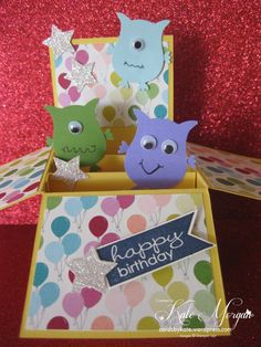 "Card In A Box, featuring Stampin' Up! Owl Builder Punch and ""Banner Greetings"" stamp set."