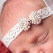 1 PC bebê meninas recém-nascido Lace pérola Mini arco cabeça de diamante Hairband com arco de cabelo Boutique crianças acessórios de cabelo(China (Mainland))