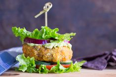 Millet Sweet Potato and Lentil Burger Millet adds texture to these hearty burgers made with savory lentils and tender roasted sweet potatoes. Lentil Veggie Burger, Sweet Potato Veggie Burger, Veggie Burgers, Lentil Recipes, Vegetarian Recipes, Cooking Recipes, Vegetarian Dinners, Healthy Recipes, Sandwich Recipes