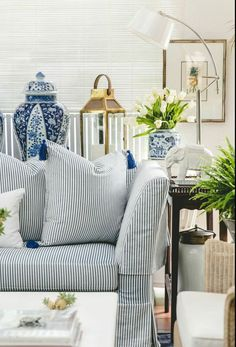 Beautiful blue and white accessories add a classic touch to a room.