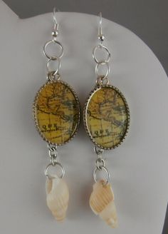 Shell and Sterling Silver Map Dangle Earrings by OnlyOriginalsByAJ, $10.00