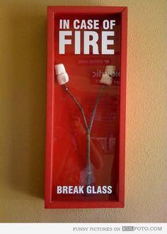 In case of fire break glass - Funny marshmallow on a roasting stick inside of a fire emergency box.