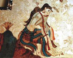 The wounded saffron gatherer lady.Fresco from Akrotiri prehistoric c. Creta, Ancient Greek Art, Ancient History, Minoan Art, Greek Mythology Art, Art Antique, France Art, Greek Culture, Santorini Island