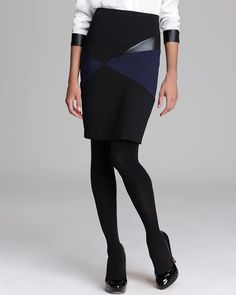 DKNYC Pencil Skirt with Faux Leather | Bloomingdale's