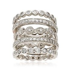 Ross-Simons - Set of Five 2.80 ct. t.w. CZ Eternity Bands in Sterling Silver