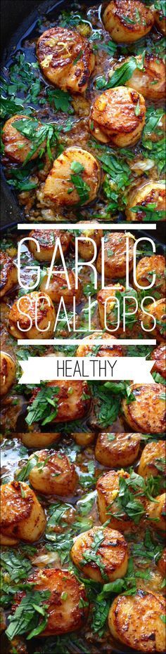 Garlic Scallops ( Healthy ) easy, cooked in Ghee | CiaoFlorentina.com Pescatarian Diet, Pescatarian Recipes, Vegetarian Recipes, Pescetarian Meals, Fish Dishes, Seafood Dishes, Seafood Recipes, Clam Recipes, Seafood Meals