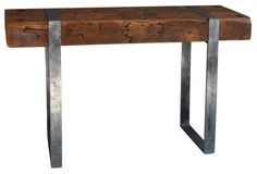 Industrial Beam Table | salvaged from a midwestern steel mill and repurposed with steel legs. hot.