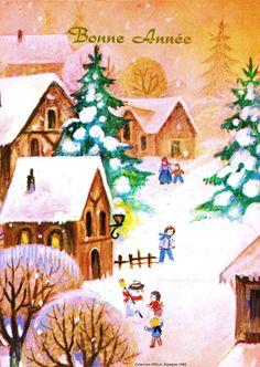 Bonne Année - Des enfants dans la rue d'un village enneigé, bonhomme de neige, sapins - 1980 (from http://mercipourlacarte.com/picture?/1511/)