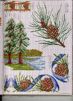 Pine tree and cones Xmas Cross Stitch, Beaded Cross Stitch, Cross Stitch Borders, Cross Stitch Flowers, Cross Stitch Charts, Cross Stitching, Cross Stitch Embroidery, Embroidery Patterns, Cross Stitch Patterns