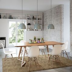 nice Modern Danish 7 Piece Dining Suite - Large Angle Rectangle Dining Table and White Replica Eames Dining Chair Mid Century Modern Dining Room, Mid Century Dining Table, Rectangle Dining Table, Small Dining, Round Dining, Dining Room Table Decor, Dining Room Design, Room Decor, Eames Dining