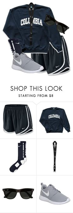 """""""Adventuring """" by lotsofl ❤ liked on Polyvore featuring NIKE, Columbia and Ray-Ban"""