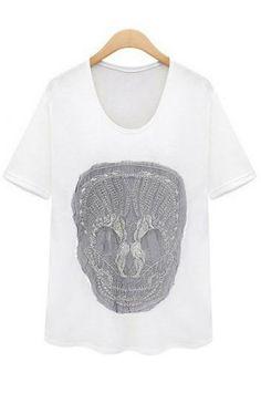 Embroidered skull T-shirt_long sleeve T-shirt_T-Shirt_CLOTHING_Voguec Shop