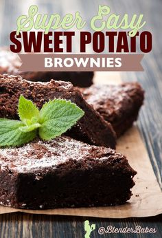 Easy Sweet Potato Brownies by Blender Babes | This recipe is the perfect combination of a decadent flavor and that texture that brownies must have. The apple sauce makes it moist and cake like without using eggs! We love lower sugar desserts!