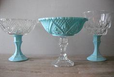 3 upcycled Tiffany blue Wedding candy buffet by MamaLisasCottage, $32.00
