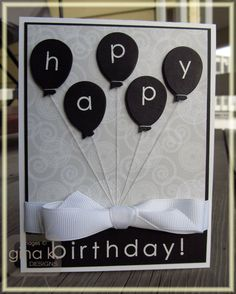 Black balloons birthday card