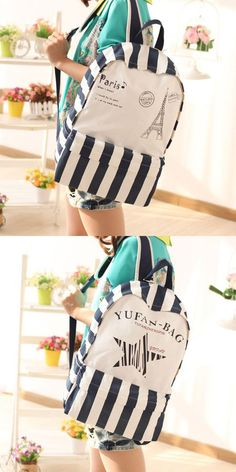Fresh British Stripes Cartoon Pattern College Style Leisure Backpack is so cute ! #backpack #style #leisure #tower #fresh #stripe #cartoon #bag