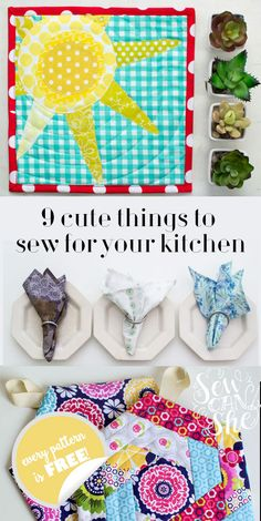I don't know what it is about springtime, but I want to sew cute things for my kitchen. Out with the old aprons, potholders, and dishtowels and in with pretty new ones! Here are my 9 favorite (and free!) patterns and tutorials to freshen up your kitchen.