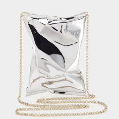 Small Crisp Packet Clutch by Anya Hindmarch Silver Clutch, White Clutch, White Handbag, Metallic Handbags, White Leather Handbags, Metallic Clutches, Silver Purses, White Purses, Best Leather Wallet