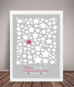 Fotoalbum & Gästebuch - GÄSTEBUCH POSTER TAUFE #STARS Grau-Pink A3 - ein Designerstück von wandzucker bei DaWanda