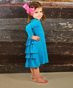 Look at this #zulilyfind! Turquoise Ruffle Shift Dress - Toddler & Girls #zulilyfinds