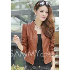 $12.67 Elegant Stand Neck Zipper Solid Color Long Sleeve Slimming Short PU Leather Jacket For Women