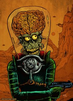 Finished up the #digital #coloring on this #illustration. The #original #ink #drawing (no color) is 9x12 and available for purchase. #topps #marsattacks #alien #monster #horror  #scifi #pulp #ack