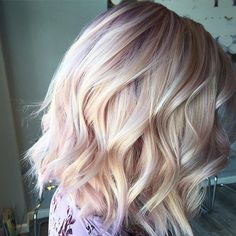 Pin for Later: Rose Gold Blonde Is Going to Be the Trendiest Hair Colour For Autumn 2016 (Rose Gold Hair Color) Rose Blonde, Blonde Color, Blonde Highlights, Short Blonde, Rose Gold Highlights, Blonde With Pink, White Blonde, Light Blonde, Gold Blonde Hair